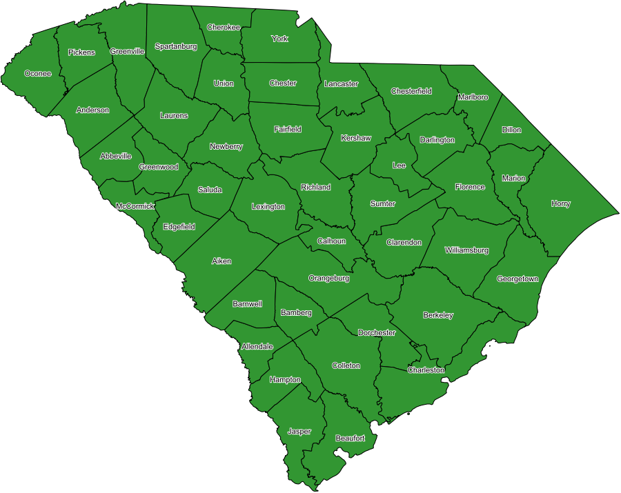 map of south carolina counties. South Carolina Coverage Map